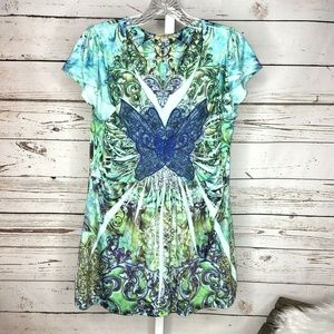 One world butterfly embellished Blouse size M
